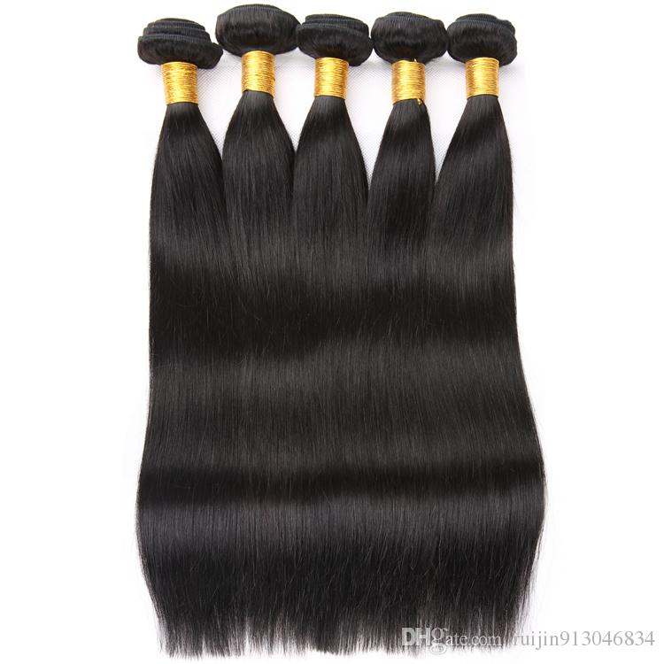 8a brazilian straight virgin hair 4 bundles 100% Human Hair Weave Non-Remy Hair Jet Black Color 3 Or