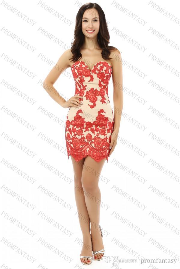 Short Red Lace Prom Dresses Sweetheart Champange Chiffon Corset Back ...