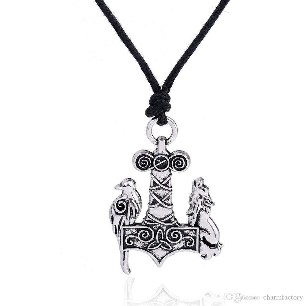 Fishhook Hot Selling Vintage Odin Viking Raven Wolf Crow Thor's Hammer Mjolnir Raven and Wolf Charms Knots Norse Rope Chain Necklace