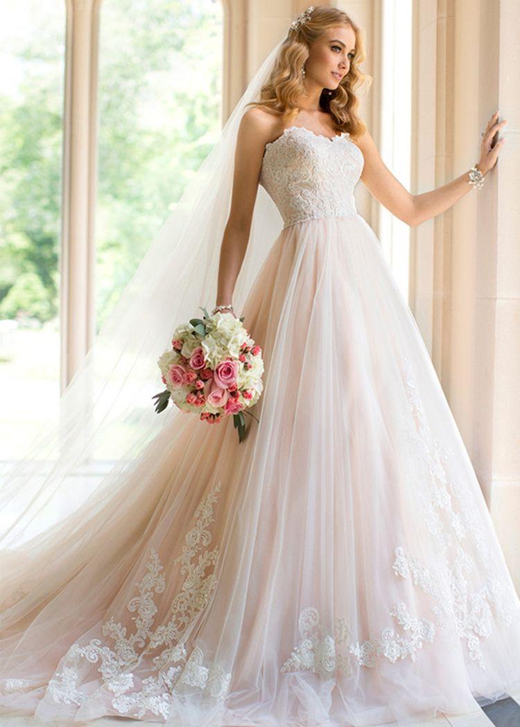 Discount Sweetheart Prince Aline Wedding Dress Online Light Blush