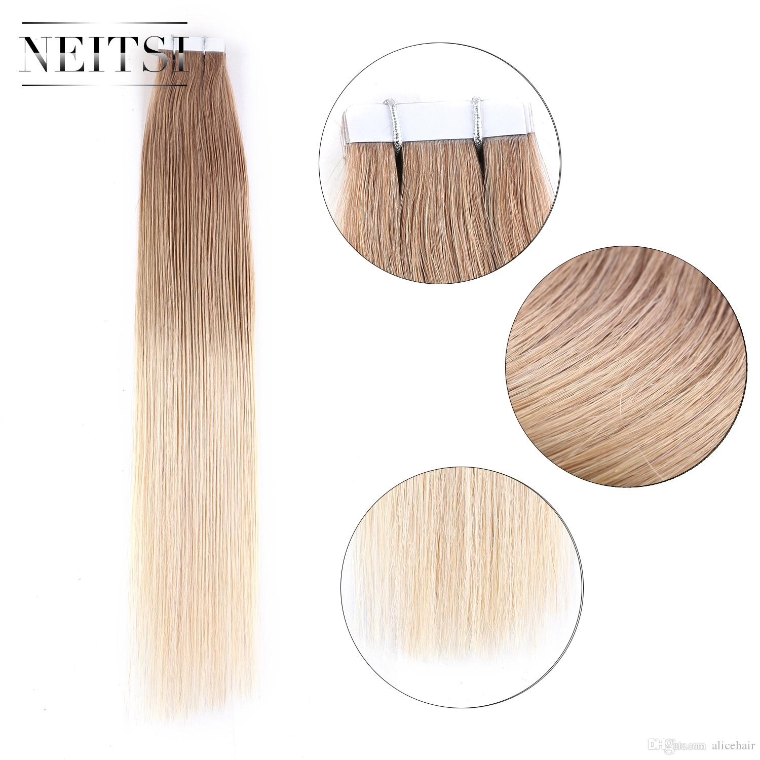 Neitsi 20 Straight Ombre Hair Glue Skin Weft Pu Tape In Human Hair