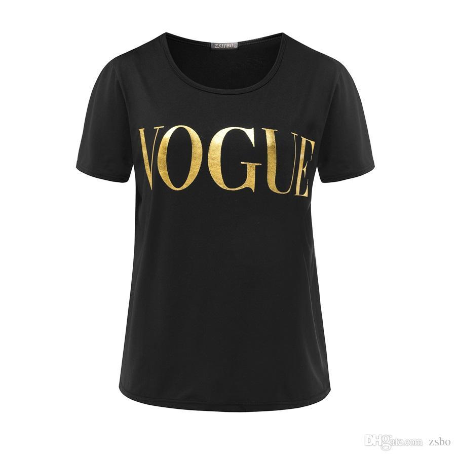 أزياء تي شيرت للمرأة إلكتروني تي شيرت الذهب VOGUE المرأة كم قصير الرقبة الطاقم المحملات الرسم النسائية عارضة قمم 2017 الجديدة NV08 RF