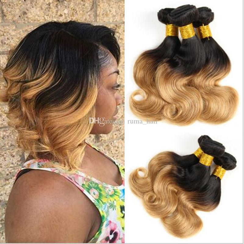 2018 Fashion Short Honey Blonde Ombre Body Wave Virgin