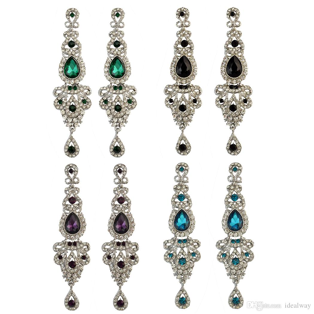 idealway Fahsion Silver 5 Colors Crystal Rhinestone Luxry Weeding Dangle Earrings R6DFD