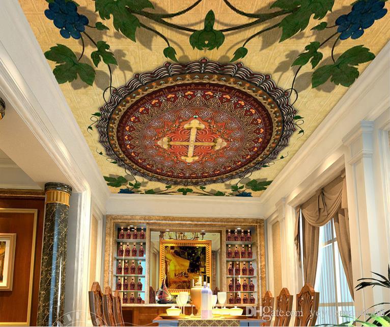 пользовательские 3d современный потолок круг мандала шаблон винограда обои для гостиной 3D потолочные фрески обои европейский