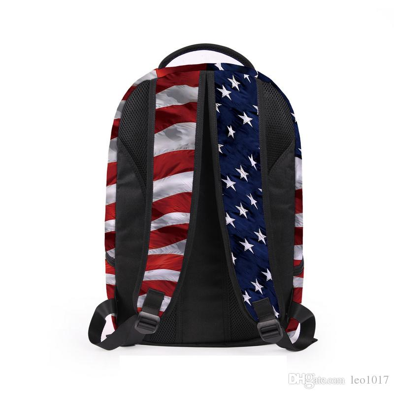 Stereo American Flag 3D Printing Student Backpacks Boy Girl Bags 2017 New Fashion Unisex Travel Bags Lap Top Backpack BB035BL