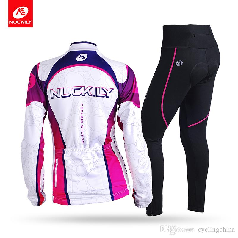 fc0eb08da NUCKILY Women Winter Thermal Cycling Jersey Suit Long Sleeve ...