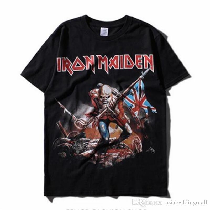 f960b6383 Compre IRON MAIDEN Banda De Música T Shirt Dos Homens De Heavy Metal Rocha  Camiseta Rocha Do Punk Streetwear Moda Tees 2017 Moda Vintage Tees Tops De  ...