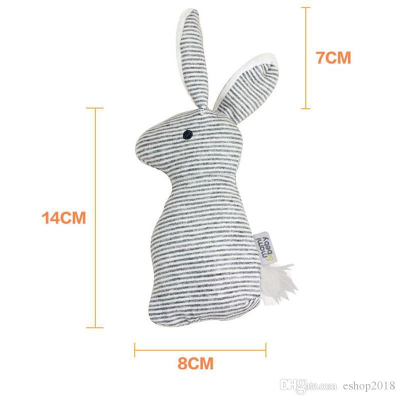 Wholesale-Baby Cute Soft Peluche a mano Grap Giocattoli Rattle Infant Baby Stripes Bunny giocattoli educativi regalo di sviluppo
