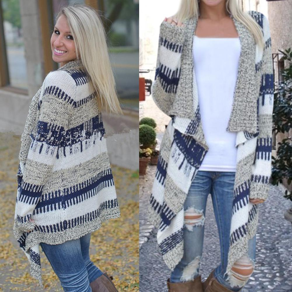 e580bb74d9821 2019 Wholesale Women Full Sleeve Hand Knitted Striped Cardigan Sweater  Fashion V Neck Open Stitch Crochet Knit Sweater Irregular Loose Cardigan  From ...