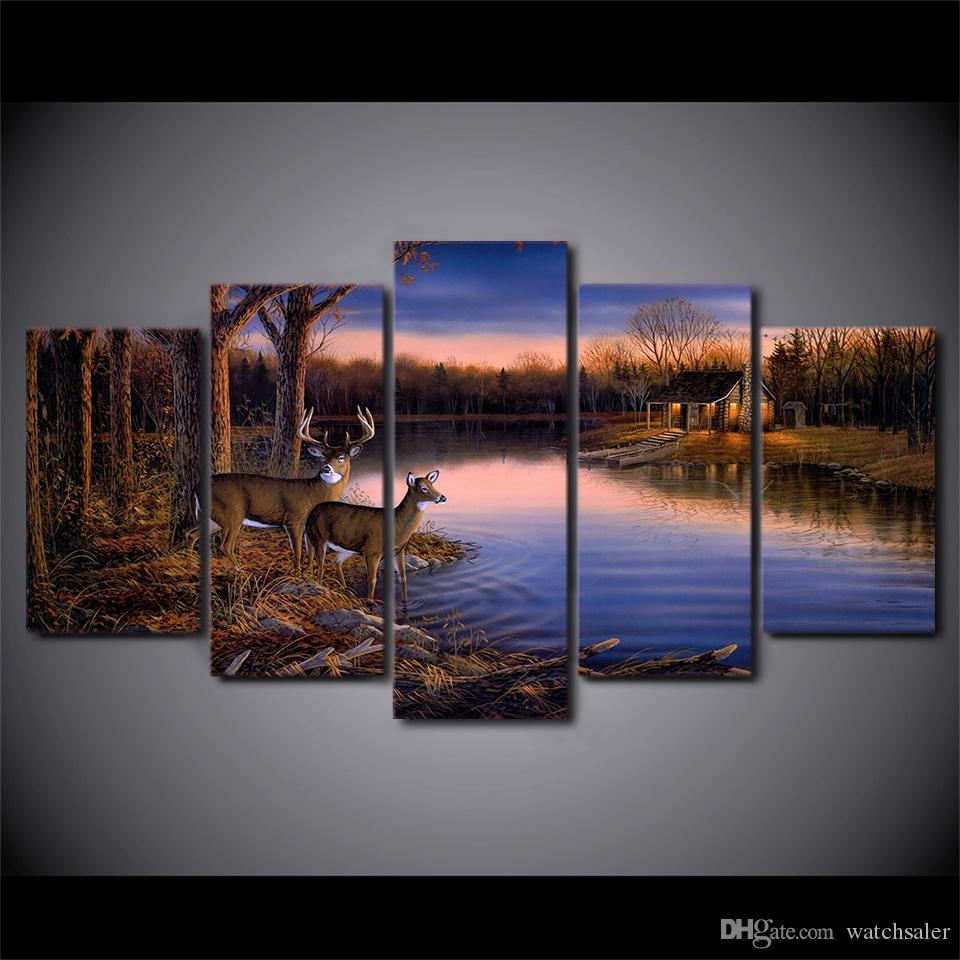 HD Printed Canvas Art Deer Lake Landscape Sunset Painting Nature Wall Pictures for Living Room