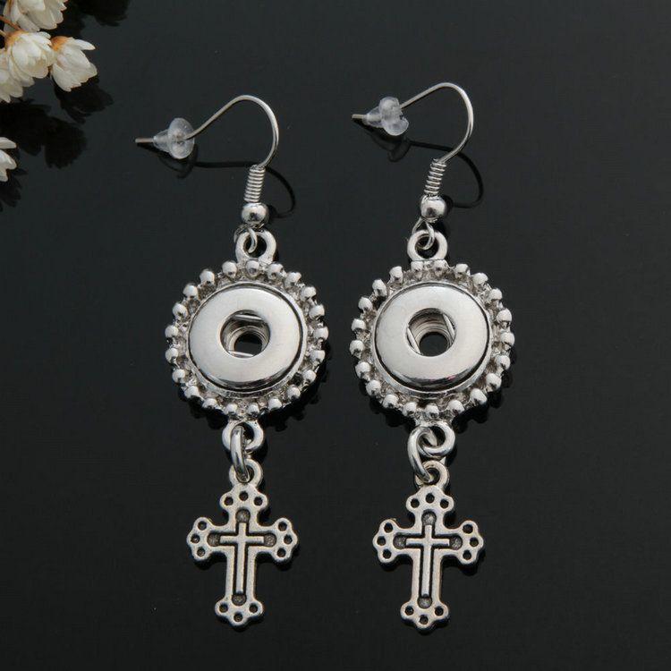 Fashion women SNAP chunks metal ginger 12mm snap button dangle earrings jewelry for girls