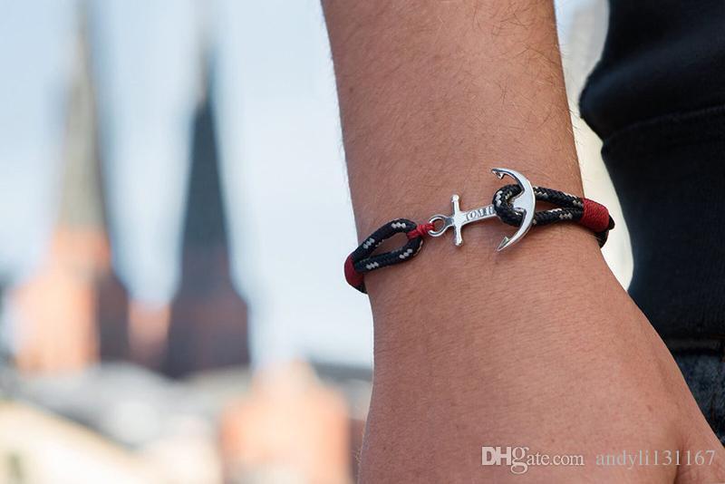 pulseira TOM ESPERANÇA Atlântico fio vermelho pulseira de Aço Inoxidável Cadeia de Âncora Charm Bracelet com caixa e tag TH1
