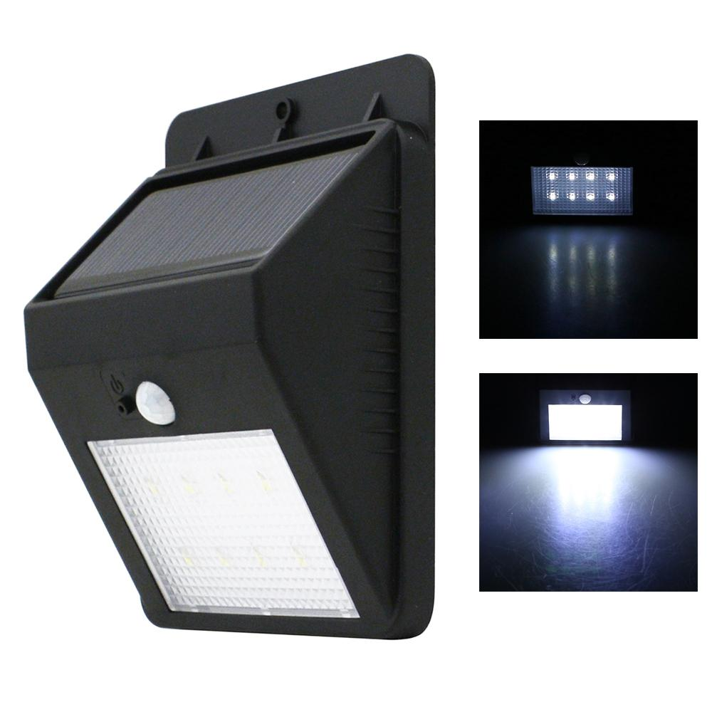 2018 wholesale solar powered 160lm 8 led wall light auto motion