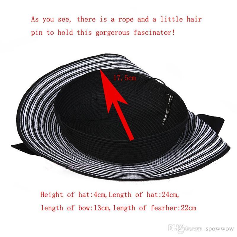 Manifestazione della fase di cerimonia nuziale del partito del tè del cappello di paglia del cappello della ragazza della zebra di tendenza di Cupido alla moda A003