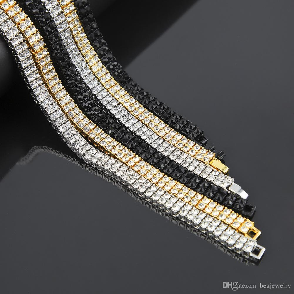 Men's Women's On Gold Silver Black 2 Row Diamond Simulated 30 Inch Chain Necklace 7mm men hip hop jewelry