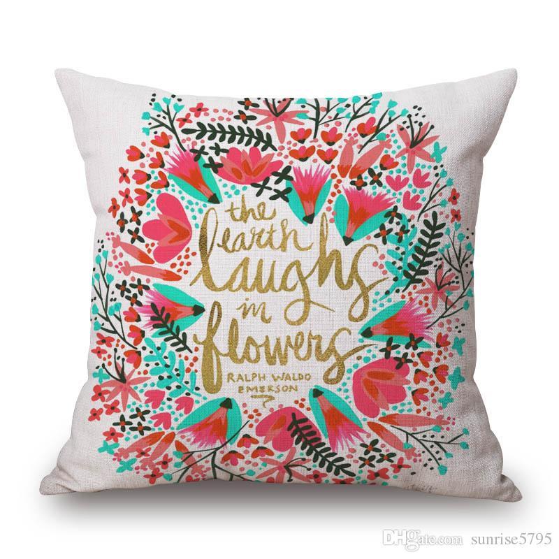 Новый год подарки подушки Дизайн обложка almofadas цветочного лист печатается золотого цвета cojines Nordico домашнего декора наволочка цитата Fundas