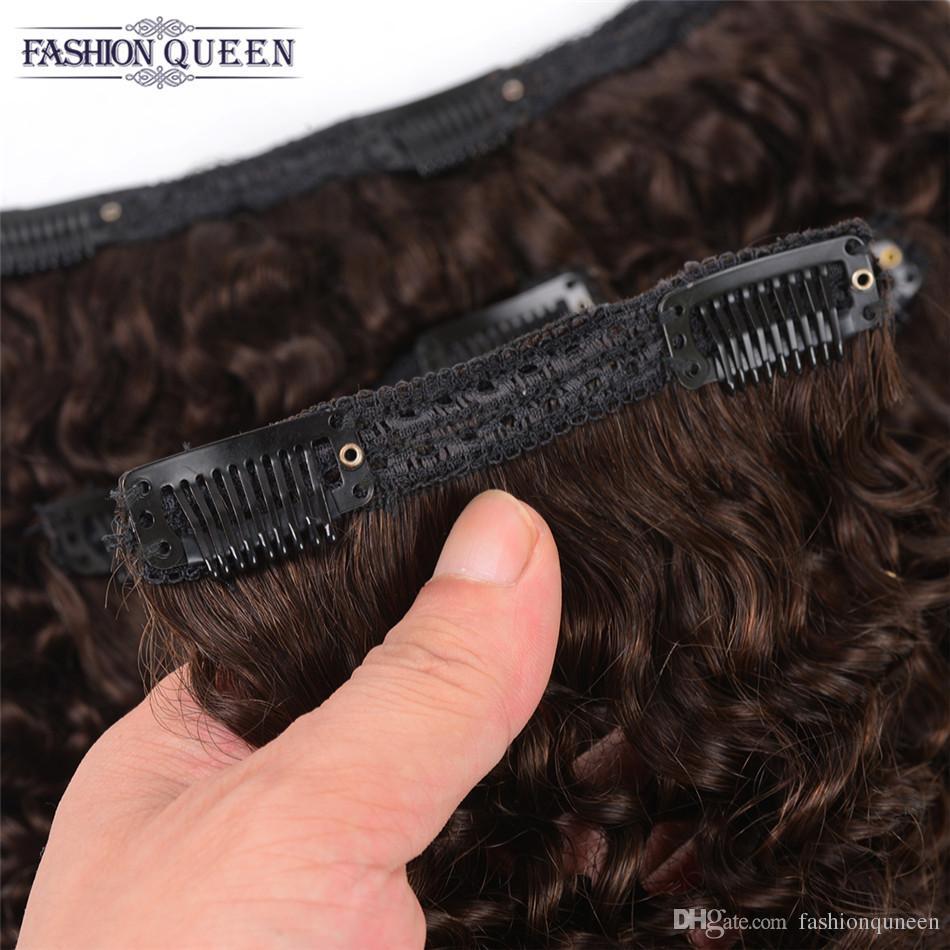 Clipe Em Extensões Do Cabelo Humano Kinky Curly 115g # 2 Marrom Escuro 6 Peças / set Remy Brasileiro Clip On Extensões Do Cabelo