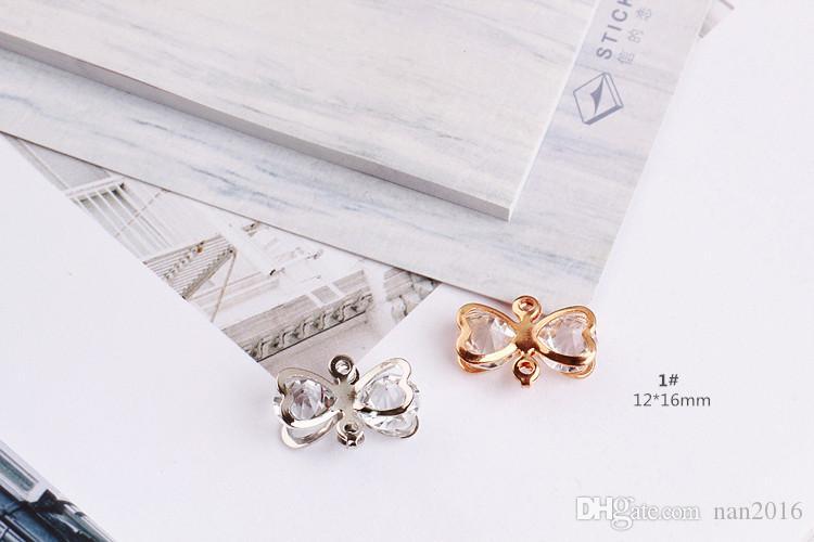20 ADET, rhinestone ilmek charm kolye, çift delik çekicilik, 12x16mm / 12x20mm, takı bulguları