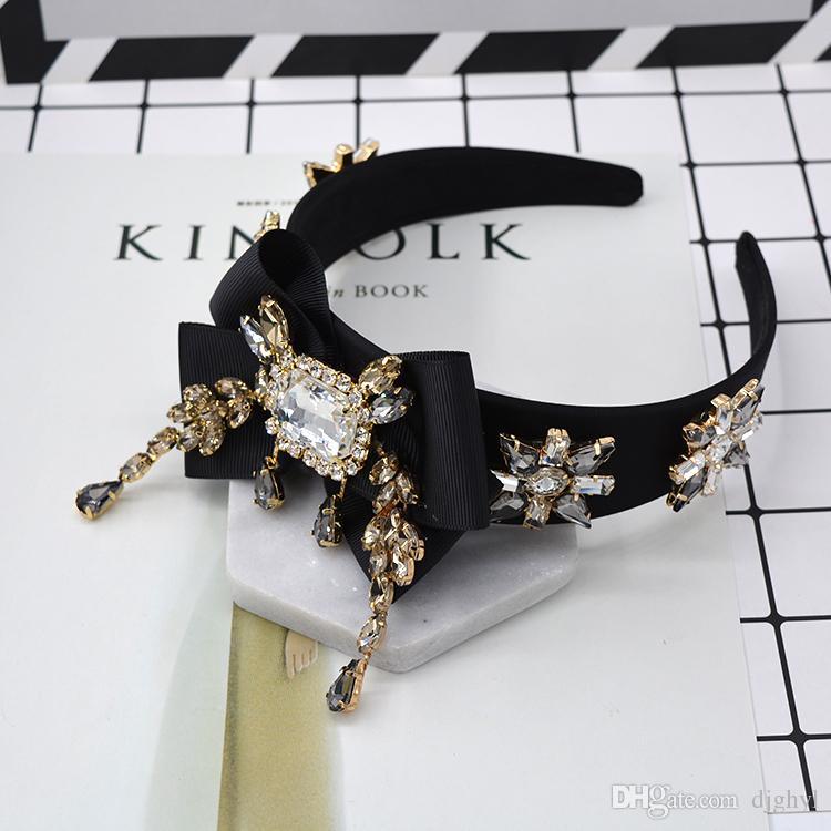 Nouveaux bijoux de mode exagéré cristal brillant grande couronne arcs fleur cristal bandeau royal filigrane diadème bande de cheveux mariée accessoires de cheveux
