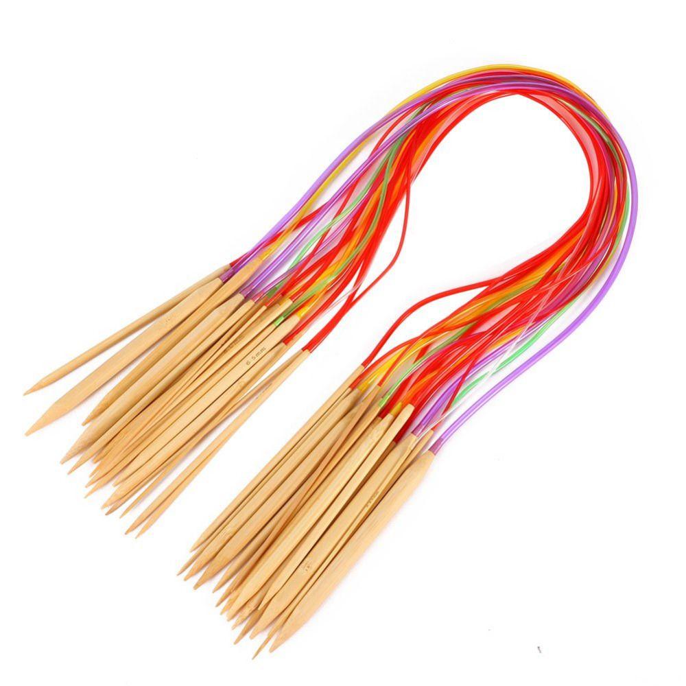 Multi-color Knitting Tools Smooth Nature Circular Bamboo Carbonized Knitting Needles Crafts Yarn tool Sets
