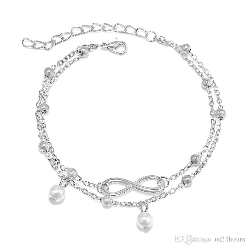 Alta qualità Lady doppia argento 925 placcato catena cavigliera braccialetto cavigliera sexy sandalo a piedi nudi piede gioielli spiaggia