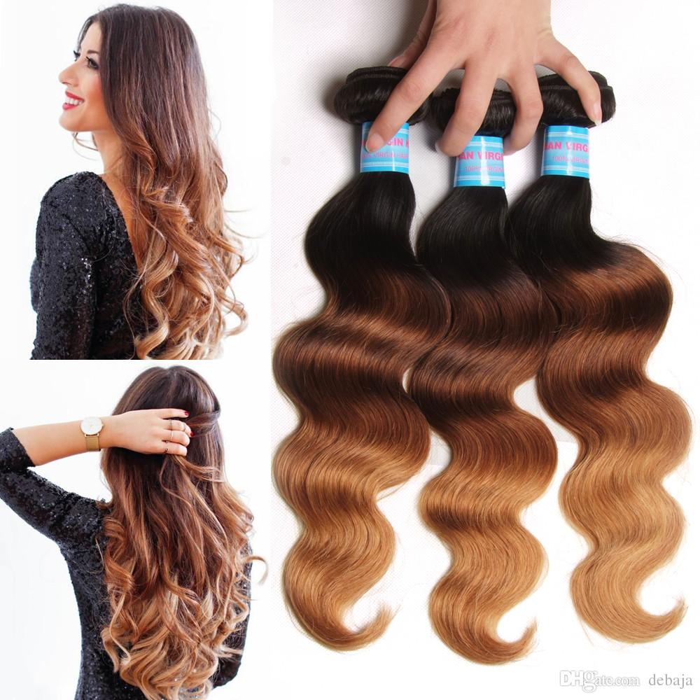 2018 Brazilian Body Wave Human Hair Weaves Ombre Colored Hair