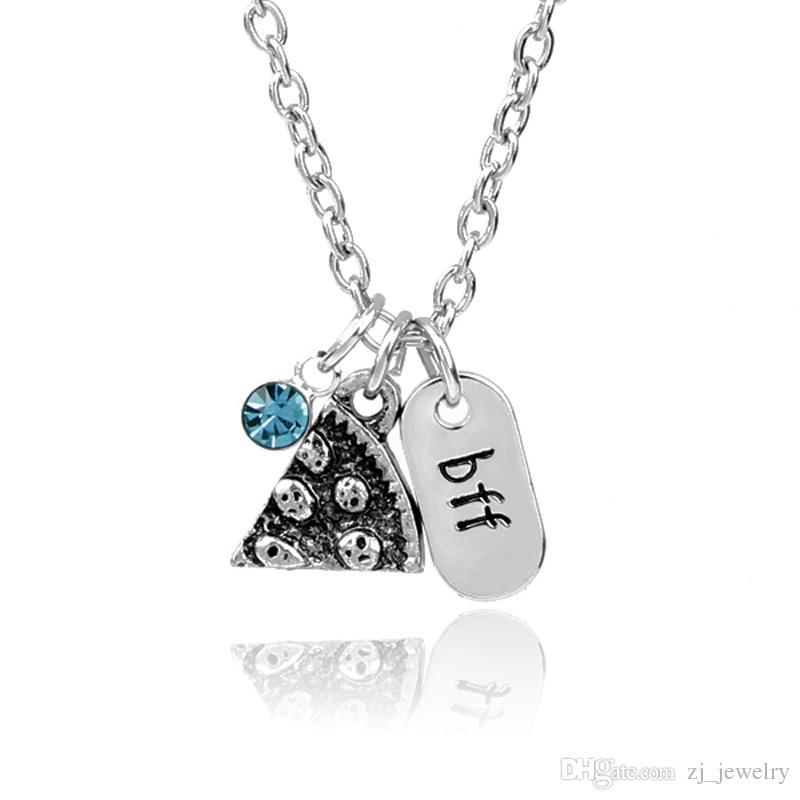 4363c00d4194 Bff Collar Carta Grabado Encantos Mejores Amigos Azul Lucky Beads Crystal  Pizza Rebanada Colgante Familia Amistad Joyería