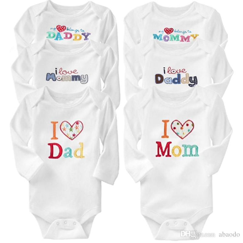 6e802ac7 AbaoDo bulk purchase I love Dad & Mom bodysuit 100% cotton long sleeve baby  rompers infants onesies kids clothing