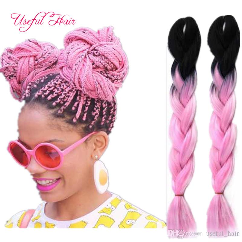 high temprature fiber useful Premium 24inch Jumbo BRAIDS SYNTHETIC braiding hair ombre color crochet hair extensions box crochet braids hair
