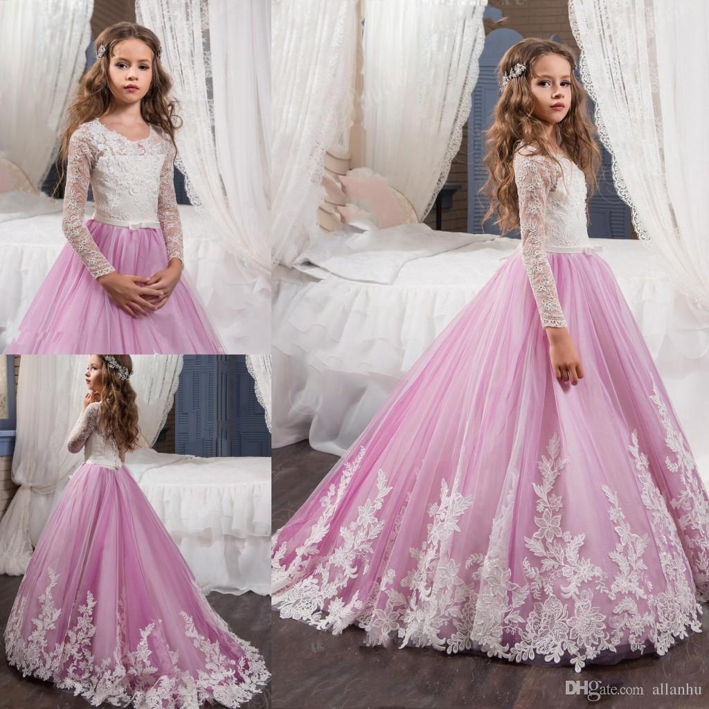 2017 новый розовый прекрасный длинные рукава девушки цветка платья принцесса экипажа Necl кружева лиф аппликации пояса девушки театрализованное платья с развертки поезд