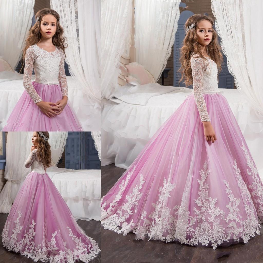 2017 Yeni Pembe Güzel Uzun Kollu Çiçek Kız Elbise Prenses Ekip Necl Dantel Korse Aplikler Sweep Tren ile Kemer kızın Pageant elbise