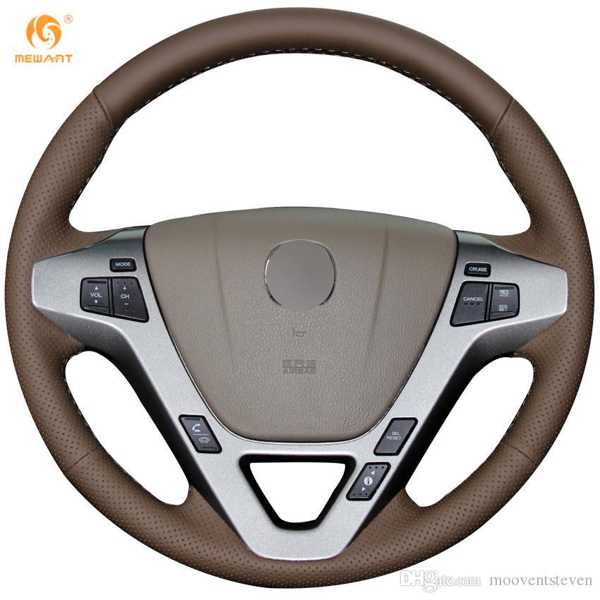 Mewant Dark Brown Genuine Leather Car Steering Wheel Cover For Acura - Acura steering wheel cover