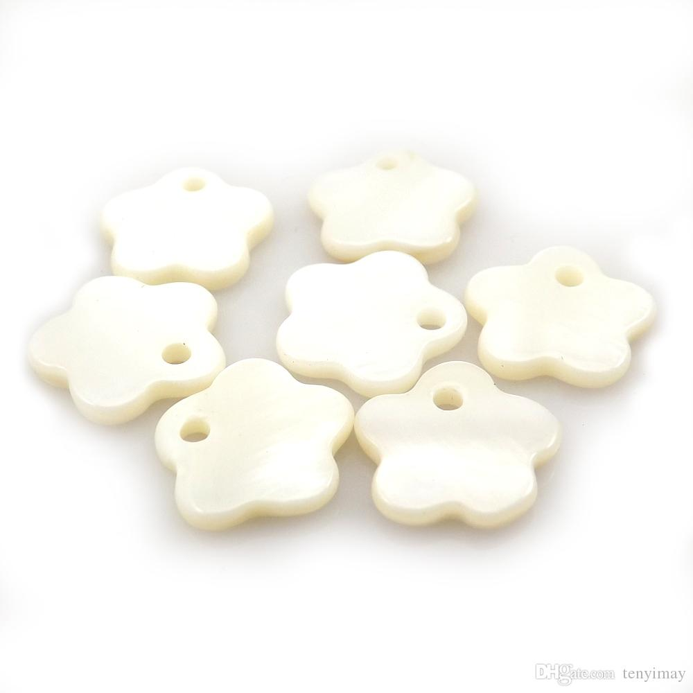 White Flower Shape Pendants 12mm For Jewelry Making DIY From Nature Mother of Pearl Shell