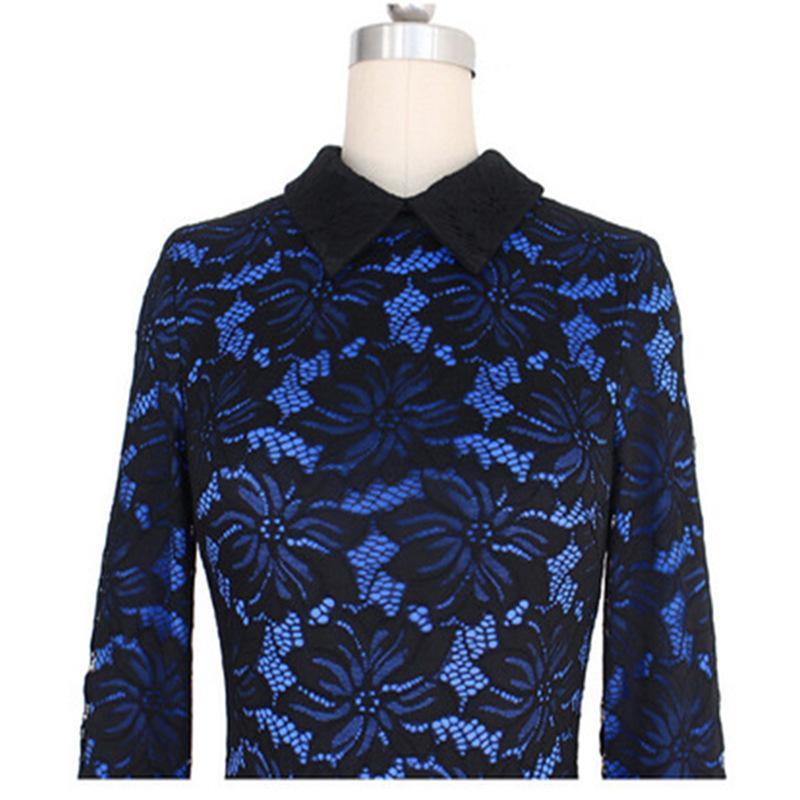 Moda vestido Azul Vestidos de Festa de Coquetel Bainha Alta Pescoço Mangas Compridas Rendas Na Altura Do Joelho Vestido de Noite Custom Made Vestidos de Evento Formal