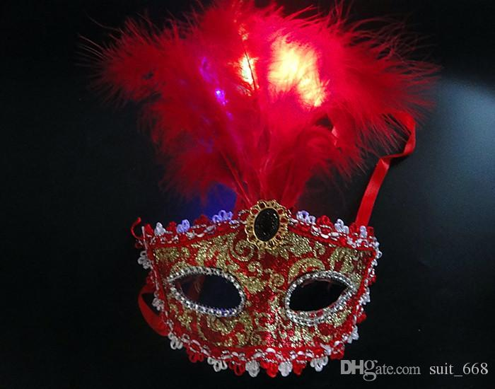 4f944b0e2be5 Props Christmas Masquerade Mask Feather Masks Colorful Eye Catching LED  Light Venetian Mask White Masquerade Masks White Masquerade Masks For Men  From ...