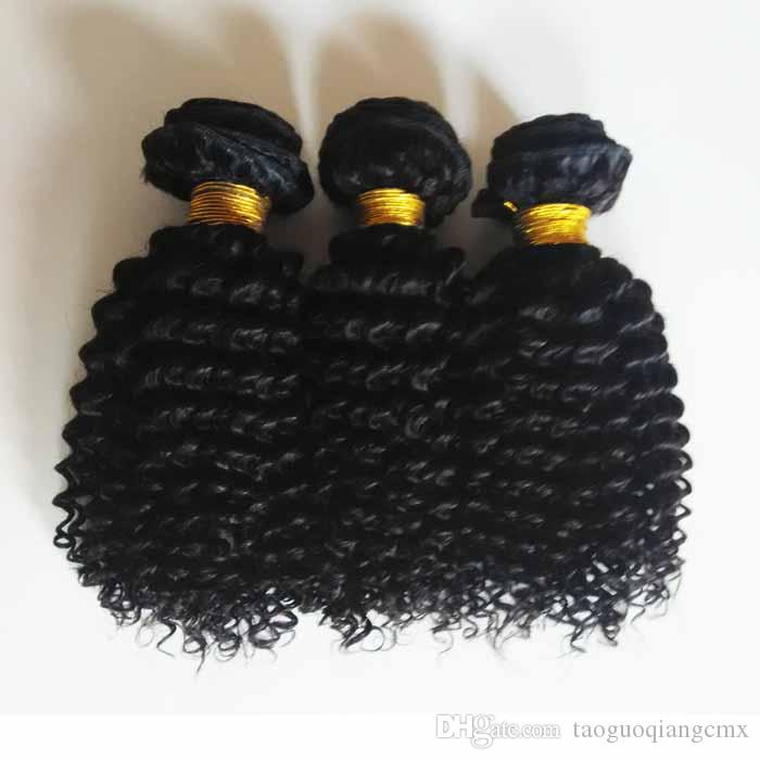 Brazilian Remy human hair weft kinky curly weave Malaysian Indian hair unprocessed African American hair Natural Color and Black #1 #1b
