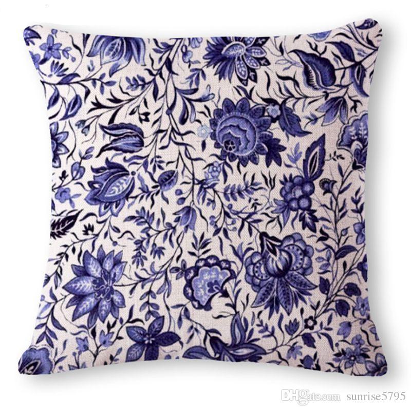 dekorative chinesische Kissenbezug blau Porzellan Sofa Chaise Wurfkissen- Fall Jahrgang ethnischen almofada Phönix cojines