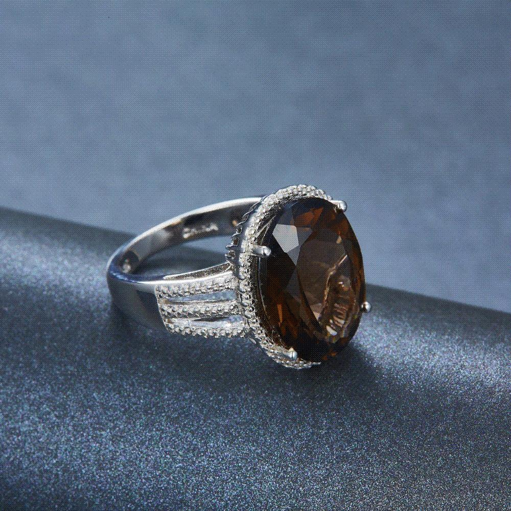 6426d15f554a4 HUTANG NEW 8.37ct Natural Oval Smoky Quartz Solid 925 Sterling Silver  Cocktail Ring Gemstone Fine Jewelry Women s Xmas Gift