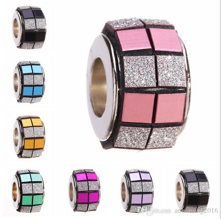 Top Qaulity 925 Sterling Silver Crystal Acrylic Plaid Beads Charm Big Hole Loose Beads For Pandora European Bracelet Necklace 5 Colo