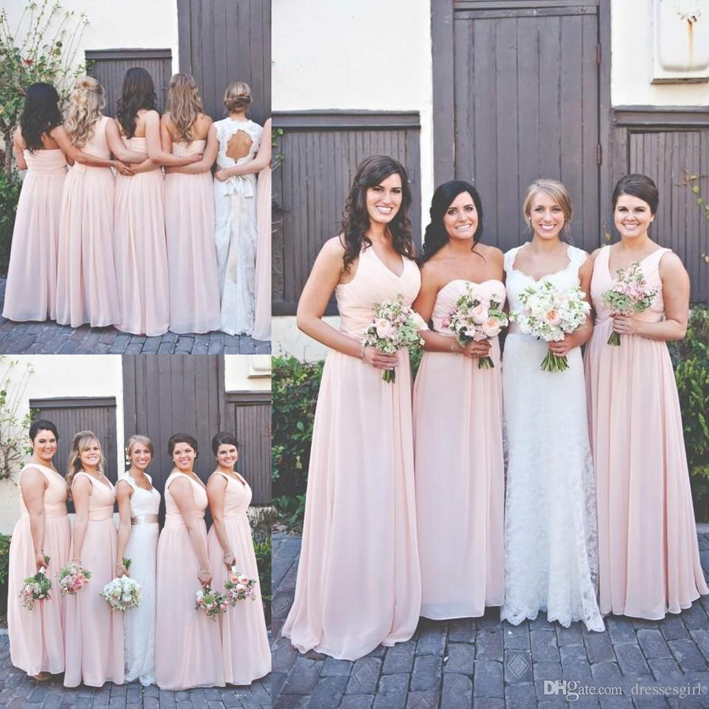 Country Bridesmaid Dresses For Outdoor Wedding Floor Length Chiffon 2018 Pleated Sleeveless Long A Line Zipper Cheap Maid Of Honor Gowns Burgundy