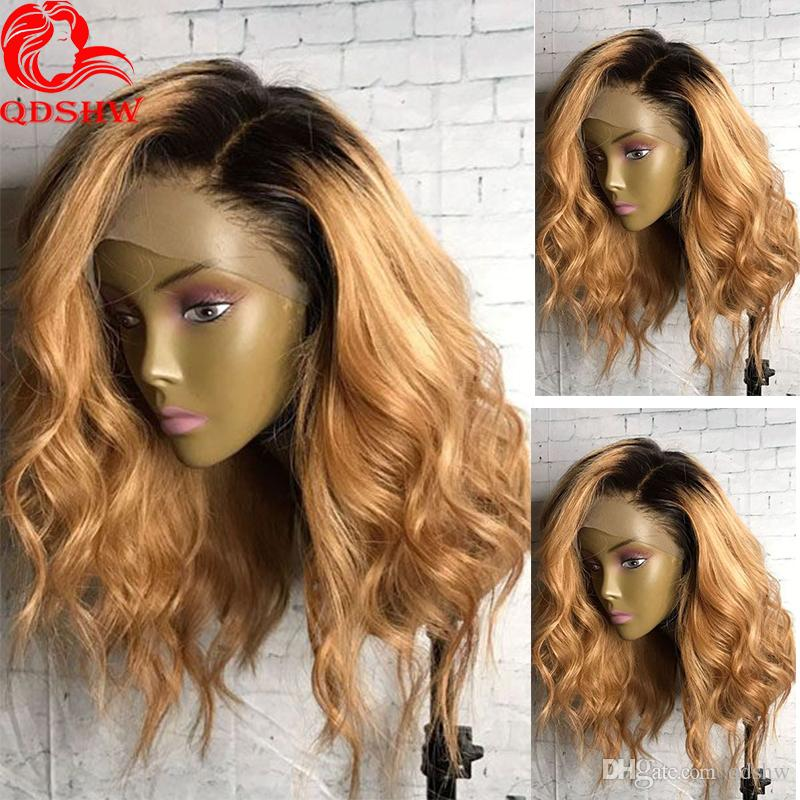 Blonde Lace Front Wig Ombre With Baby Hair Pre Plucked Body Wave Virgin Hair Brazilian Glueless Ombre Human Hair Wigs For Black Women