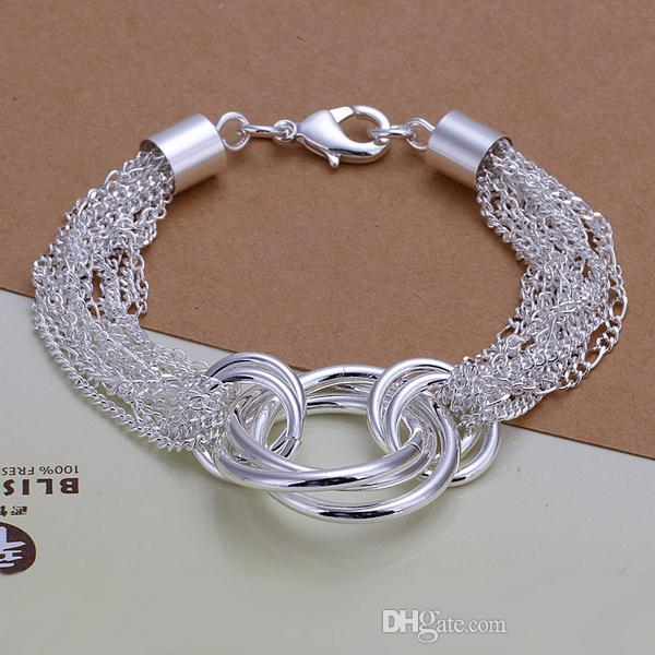 Wholesale 925 Sterling silver plated Lobster-claw-clasps charm bracelets LKNSPCH299