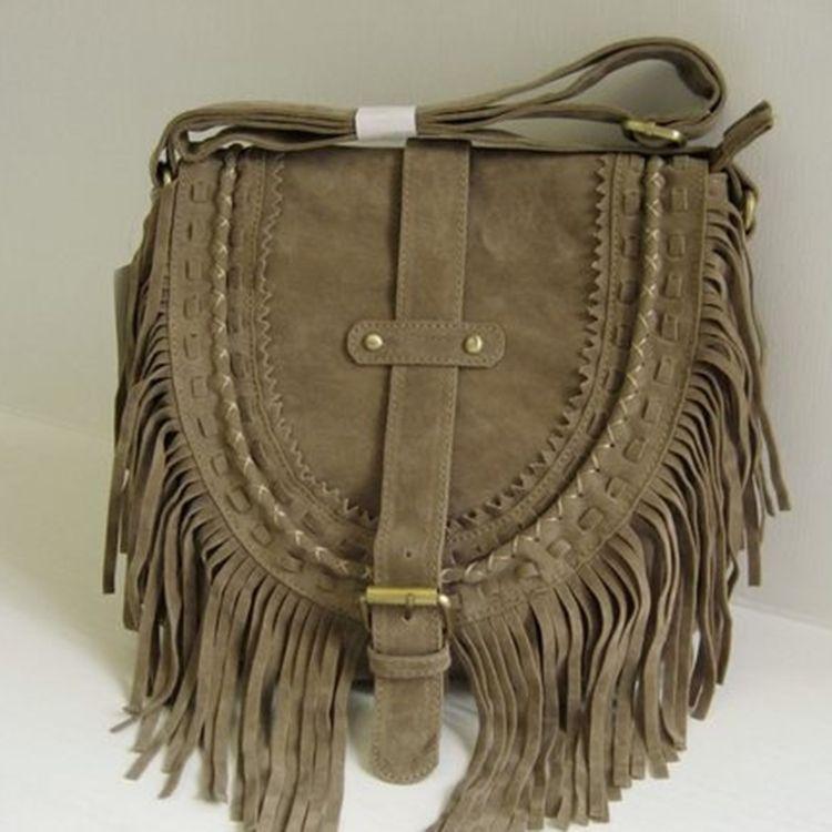 4ff049238f9b Wholesale- Bohemian Style Women Boho Bag Tassel Designer Nubuck ...