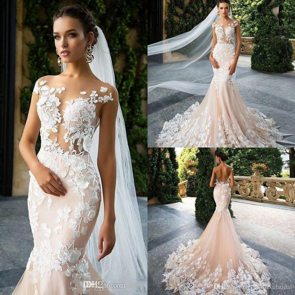 b88029c1e8bb1 Milla Nova 2018 Cheap Cap Sleeve Mermaid Wedding Dresses 3D Floral Lace  Appliques Illusion Backless Bridal Gowns Plus Size Vestios De Novia