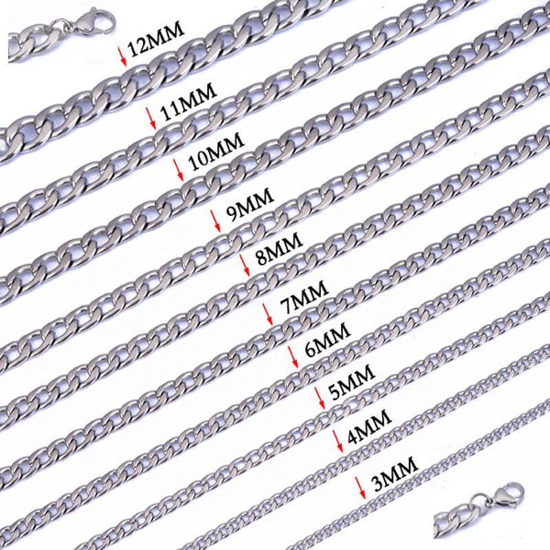 Breite 3 mm / 4 mm / 5 mm / 6 mm / 7 mm / 8 mm / 9 mm / 10 mm / 11 mm / 12 mm 316L Edelstahl Herren NK Cool Curb Gliederkette Halskette 18
