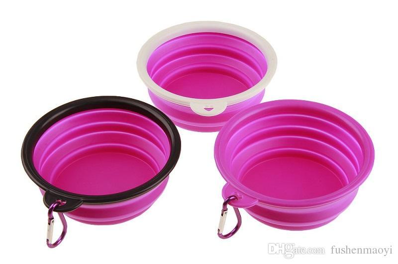 Ciotole d'alimentazione pieghevoli portatili del gatto del cane di animale domestico con trasporto libero all'ingrosso all'ingrosso compatto dell'alimentatore del silicone di viaggio della fibbia