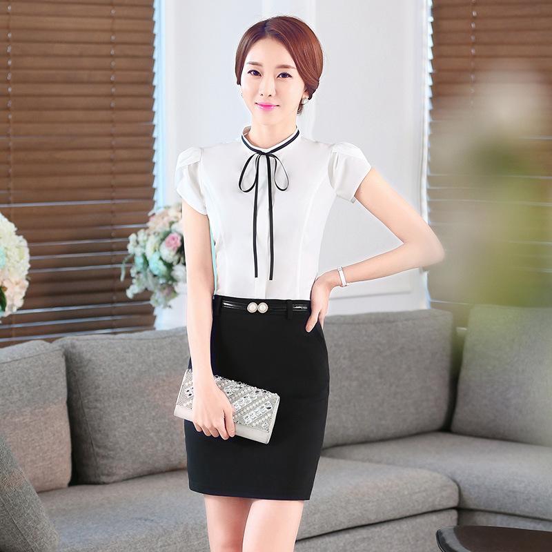 Neue Ankunftsart und weise Hemd-Fliege-Frauen arbeiten Kurzhülse Hemd OL Art-dünne Blusen grundlegende Oberseiten-Damen formelle Büro-Bluse