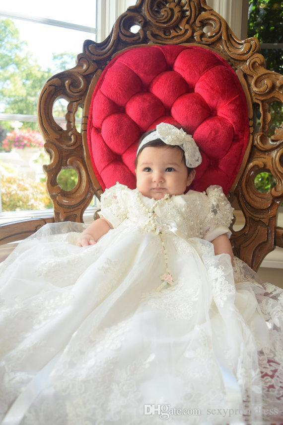 White Lace Princess Baby First Communion Dresses Pearls Beaded Short Sleeve Girls Dress With Ribbon Sashes Children Long Prom Party Gowns