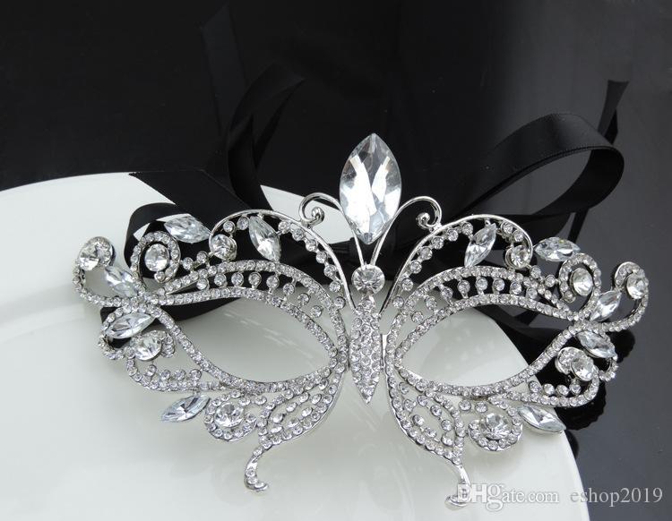 2017 Silver Tone Venetian Nupcial Mascarada Rhinestone Crystal Eye Mask Máscara de Halloween Fiesta de disfraces Máscara